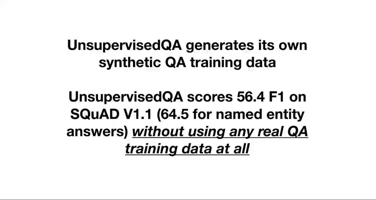 "Question Answering models are data hungry. But what if there was no QA training data at all? Very excited to share ""Unsupervised Question Answering by Cloze Translation"" ACL 2019, with @LudovicDenoyer and @riedelcastro! https://arxiv.org/abs/1906.04980"