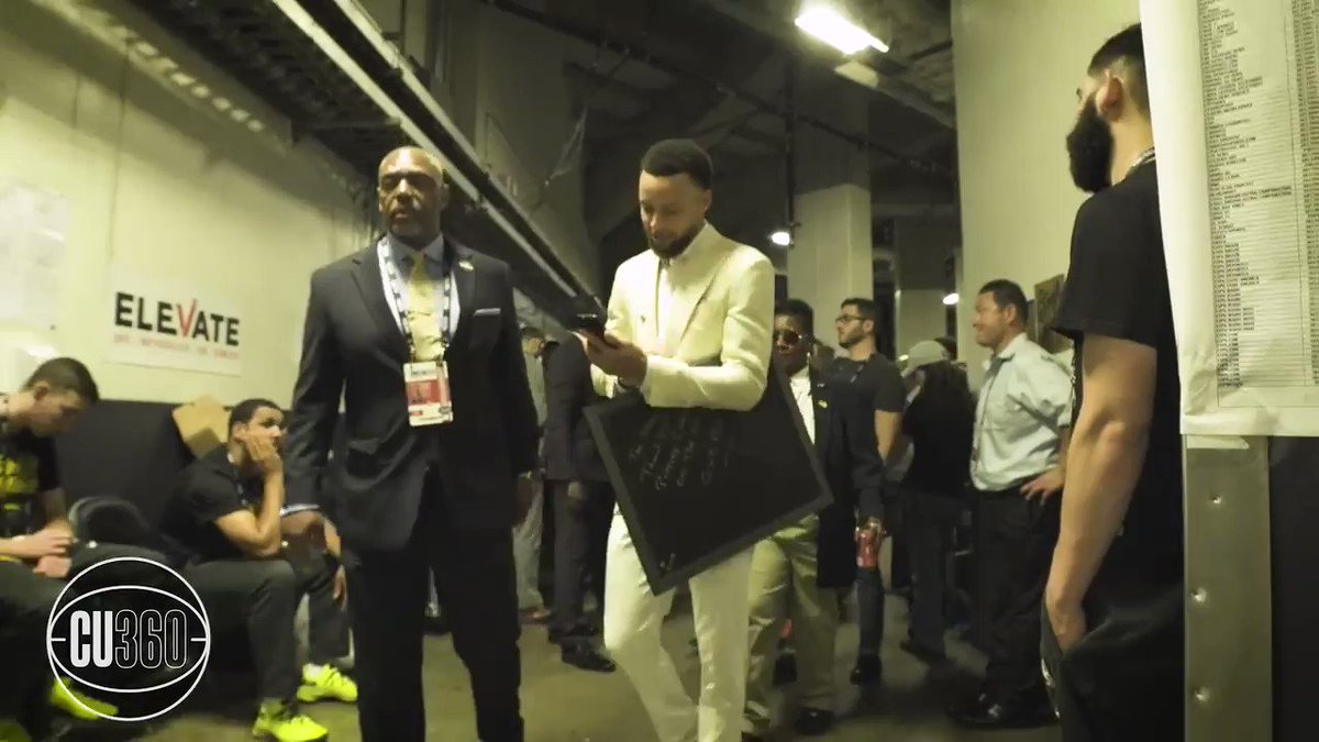 """""""Y'all deserve it man. Congrats.""""  Steph talked to Drake on the phone before leaving the arena. (via @CloseUp360)"""
