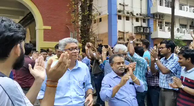 Professors of our college giving Mass Resignation.   In 1st sec of video,Prof in blue shirt was incharge of 1st open heart transplant in WB govt hosp We want basic safety n assurance that in future we wont be attacked by Goons, with audacity ur govt given to them @MamataOfficial