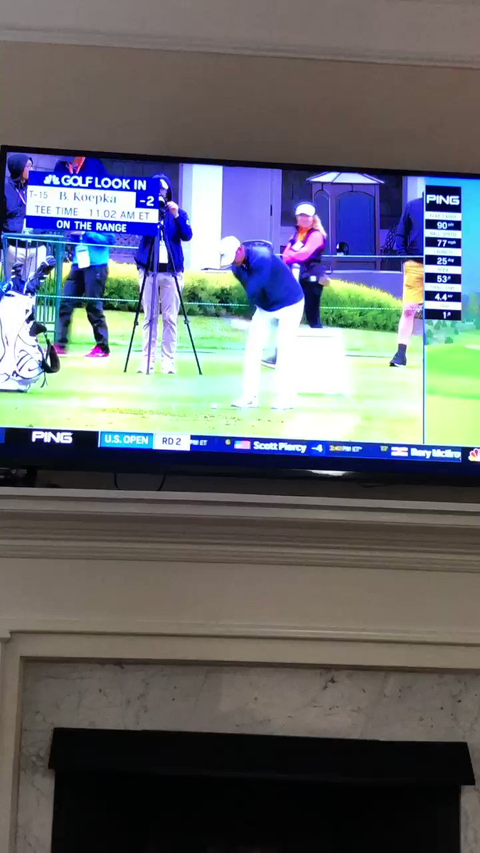 Koepka doin the double take after he turns around and sees Eon Poulter in his pink pants and purple shirt.  Lol.