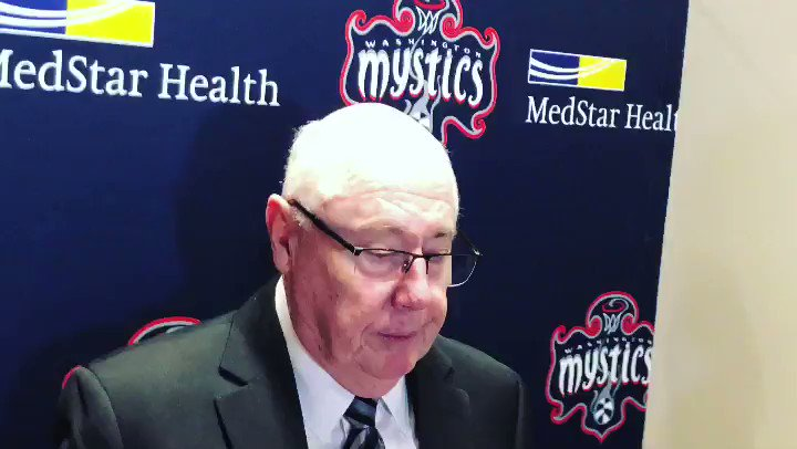 """Coach Thibault on Cloud's decision to lead a team media blackout to bring awareness to gun violence impacting a nearby school: """"My thought to them is you have to follow-up and be apart of the process....it has to be ongoing, not just a one off thing."""" #Mystics #TogetherDC"""