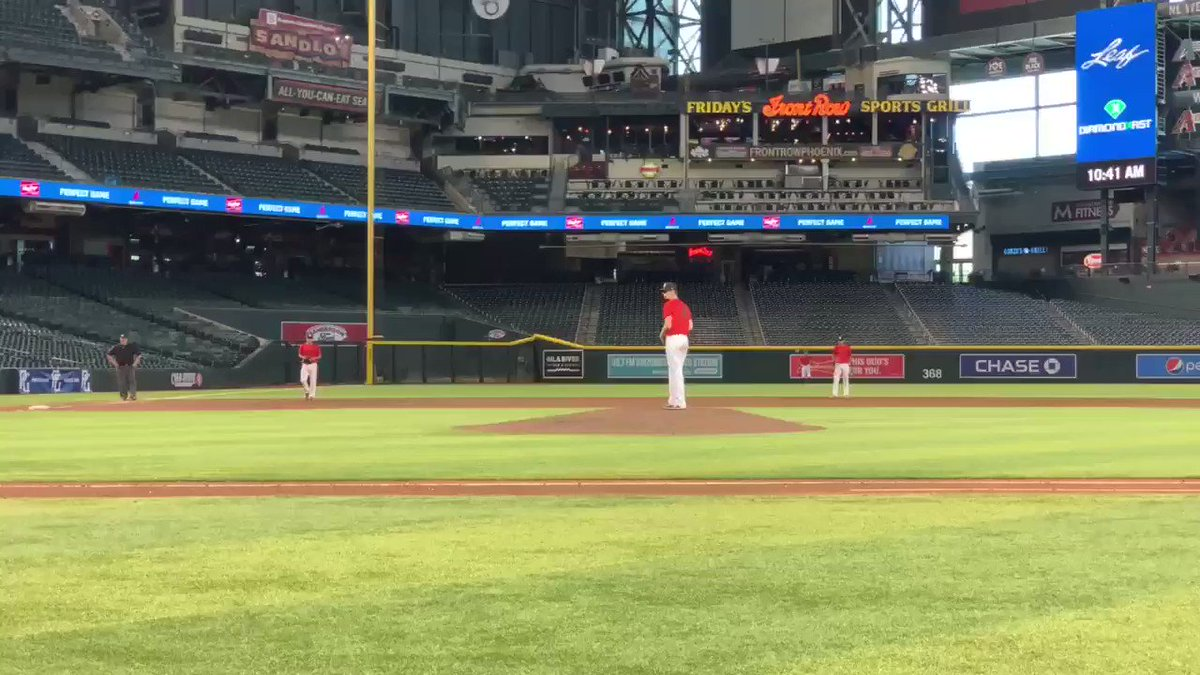 #Iowa commit Reece Lawler (2020, Gurnee, IL) is looking comfortable and sharp out there on the mound today⚾️💥  In his first inning of work he picked up 2 K's and a quick ground out💪  #PGShowcase #NationalShowcasePHX – at Chase Field