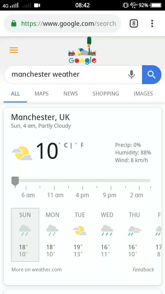 How the weather is likely to remain the entire day in Manchester for the #INDvPAK fixture at #CWC19 50 overs match is clearly impossible... See the day's weather progression as per #Google