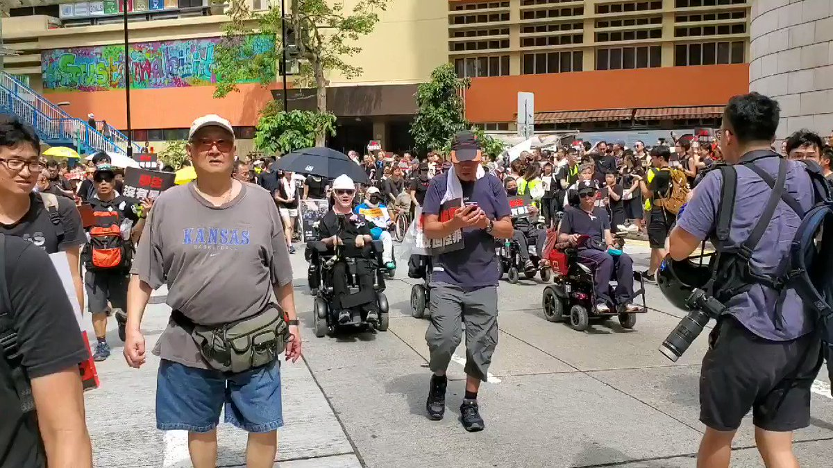 More than a dozen in wheelchairs are also among those who have taken to the streets to protest against #extraditionbill  and call for the gov not to charge students with riot