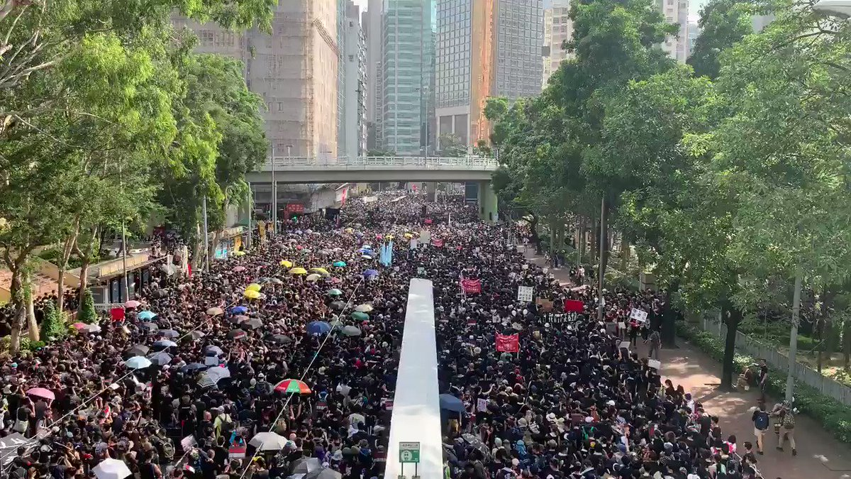 Two hours after the Hong Kong extradition march began, people are still waiting to start