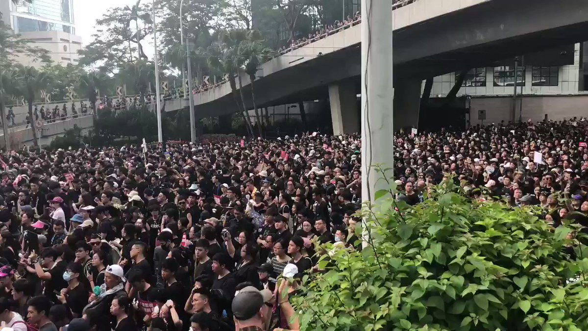 Occupy Admiralty: A sea of black outside Pacific Place in #hongkong today anti-#extraditionbill @SCMPNews