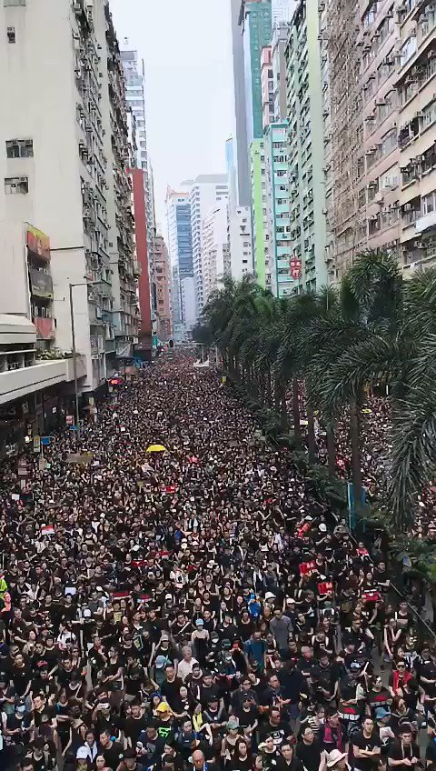 "The energy at the march in #HongKong today feels triumphant and defiant. Protestors are unified in their calls. They're demanding Carrie Lam step down, that she withdraws the extradition bill and that police ""stop using violence against students."" #LockhartRoad"