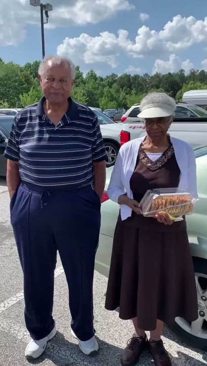 """A woman saw this beautiful black elderly couple and gravitated towards them. """"He was talking to her with a gentle smile on his face & she was intently listening to his every word & adoringly smiling back at him""""  This is the story she got. My heart is so full.   Retweet ❤️"""
