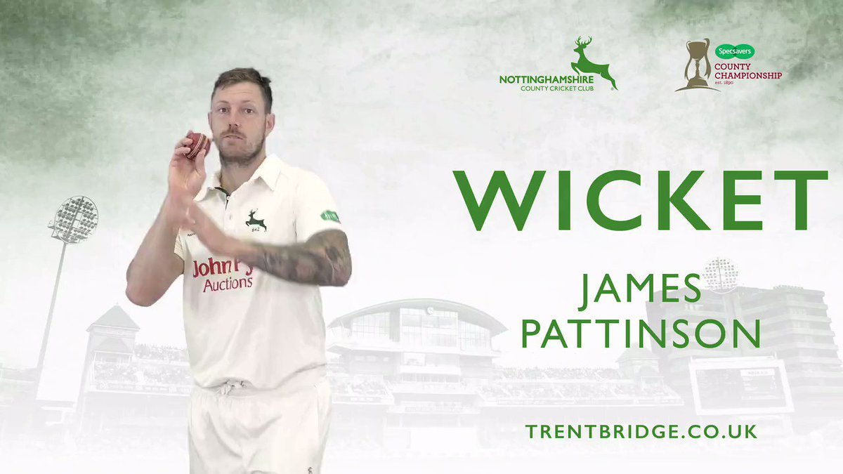 WICKET | Pattinson has Dickson for the second time in the match as a leg side glance is well held by Moores behind the stumps. Kent 19-1 in their second innings, lead by 61 runs. #KentvNotts Live scorecard 👉http://socsi.in/g_yGVYj