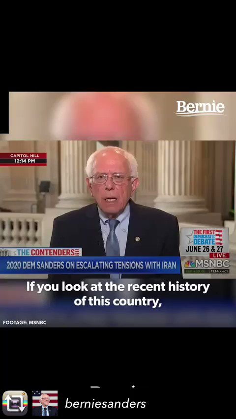 Repost from @berniesanders #america #vote #BernieSanders #votebernie #war #usa #stop #attacking #iran #debate #middleeast #whotovotefor #save #lives #vietnam #history #policy #lies #truth #whitehouse #military #death #family #PTSD #speech #good #man #senator #share #change #help