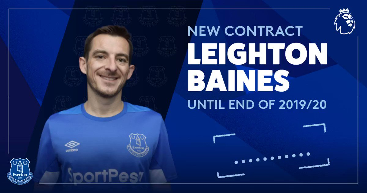 ✍️   Its official! Leighton Baines has signed a new one-year deal and will embark on his 1️⃣3️⃣th season with #EFC! ➡️ bit.ly/2x0NHKS