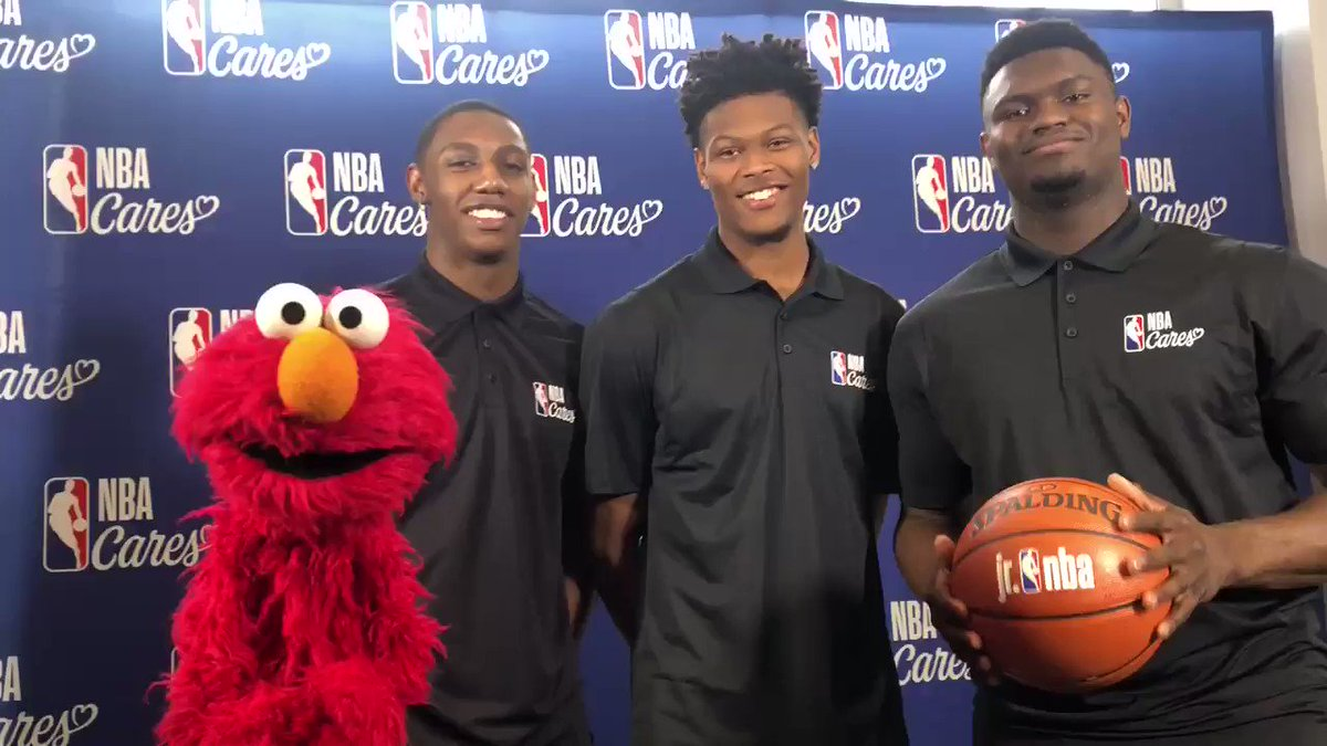 Excited to have our friend @Elmo hanging out with @Zionwilliamson, @RjBarrett6, and @camreddish today to celebrate @SesameStreet's mission to help children everywhere grow smarter, stronger, and kinder!