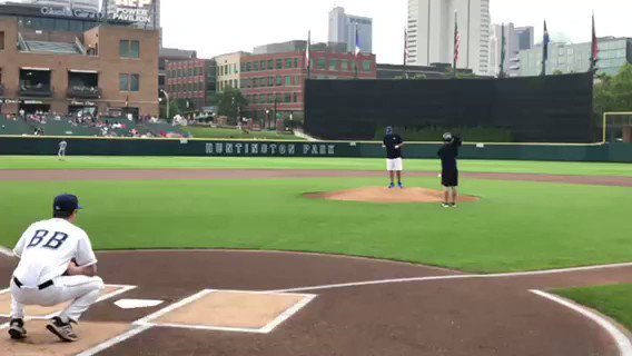 Our very own, Tom Harris, throwing the first pitch at tonight's Clipper's game! Look at that technique and perfect strike! ⚾️ #HMB #youwinwewin #lifeatHMB #Columbus #clippers