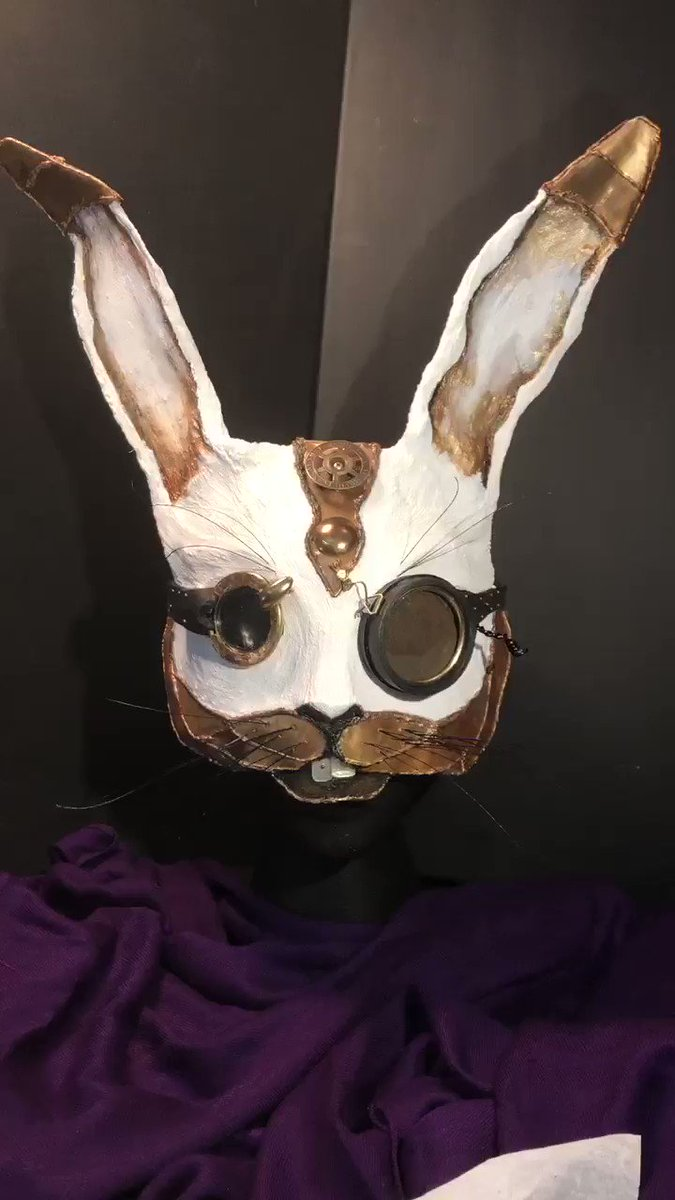One of my latest pieces... A custom order for another creative client... with moving parts, was too much fun! #mask #steampunk #rabbit #AliceInWonderland #costume #etsy #etsysellers #cosplay