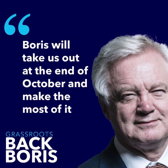 """Boris will be a very good Prime Minister, for a variety of reasons. He'll take us out, but also he'll give an upbeat tone to this Country. We have had two years of people doing the country down… Boris believes we've got a great future ahead of us"" @DavidDavisMP #BackBoris"