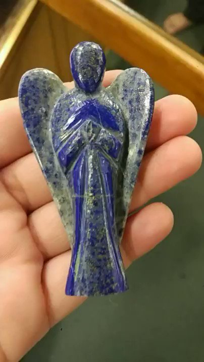 This Lapis Lazuli  has been hand-cut and polished into the shape of an Angel with wings. ... A powerful Third Eye Chakra opener, Lapis Lazuli connects the physical and celestial kingdoms.  #lapislazuli #angel #superbminerals #gargotimuseum #crystalshop #shopnow #healing #crystals