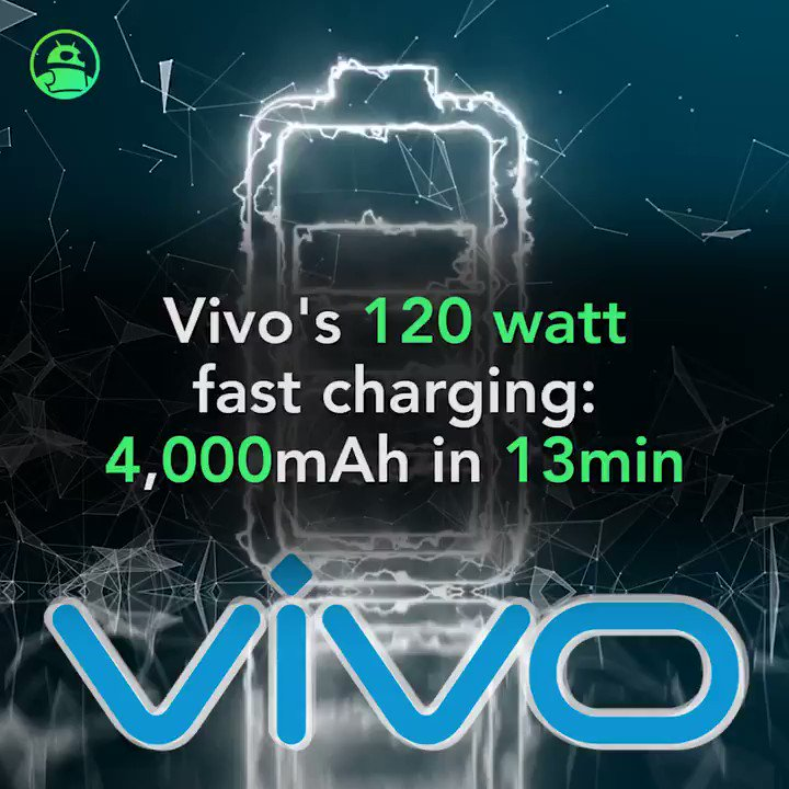 Vivo touts 120 watt fast charging: Charge a 4,000mAh battery in 13 minutes. Read more: http://andauth.co/mFgTSw   #technology #Vivo #battery