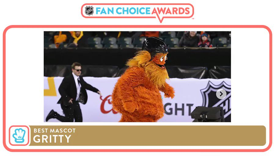 The people have spoken! @GrittyNHL, you are officially the fans' favorite mascot in the League. 🙌 #NHLFanChoice  VIEW WINNERS ➡️ http://NHL.com/FanChoiceAwards