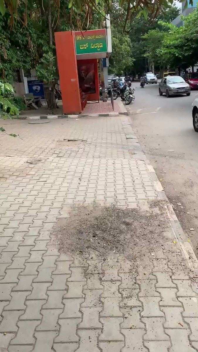 The state of the side walks in a 'posh' locality (RMVII) of #Bengaluru . Pedestrians have the first right of way in most developed countries. When will our city start caring for the pedestrians?