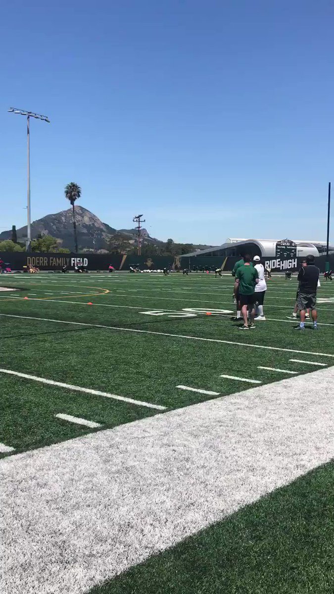 Won the fastest man competition at the cal poly camp today @calpolyfootball