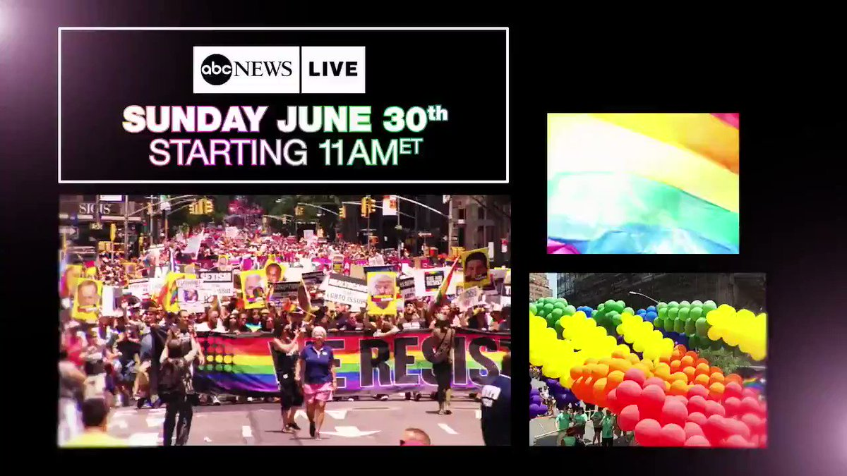 SUNDAY: @ABC's @KimNikiaBrooks & @GioBenitez host #PRIDE on @ABCNewsLive. Coverage begins at 11am ET.  WATCH HERE: 📱http://ABCNews.com/LIVE  📺 @ABC News app on your favorite streaming device  #WorldPrideNYC #PrideMonth