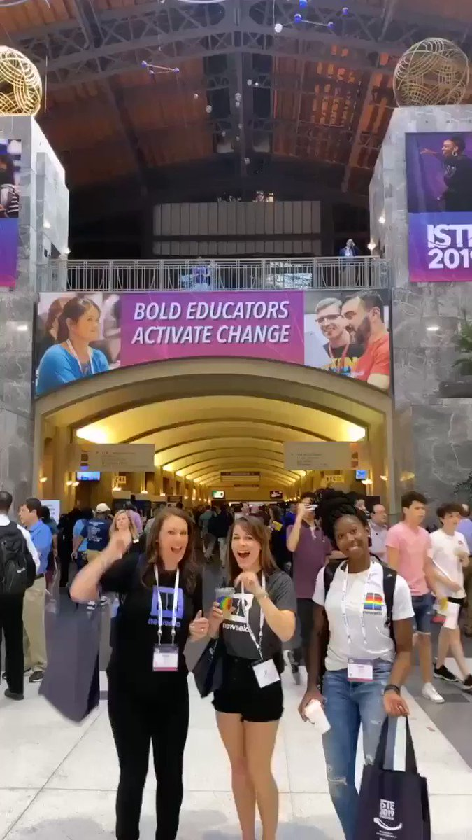 HERE WE AT #iste19 keep an eye out for this @Newsela crew