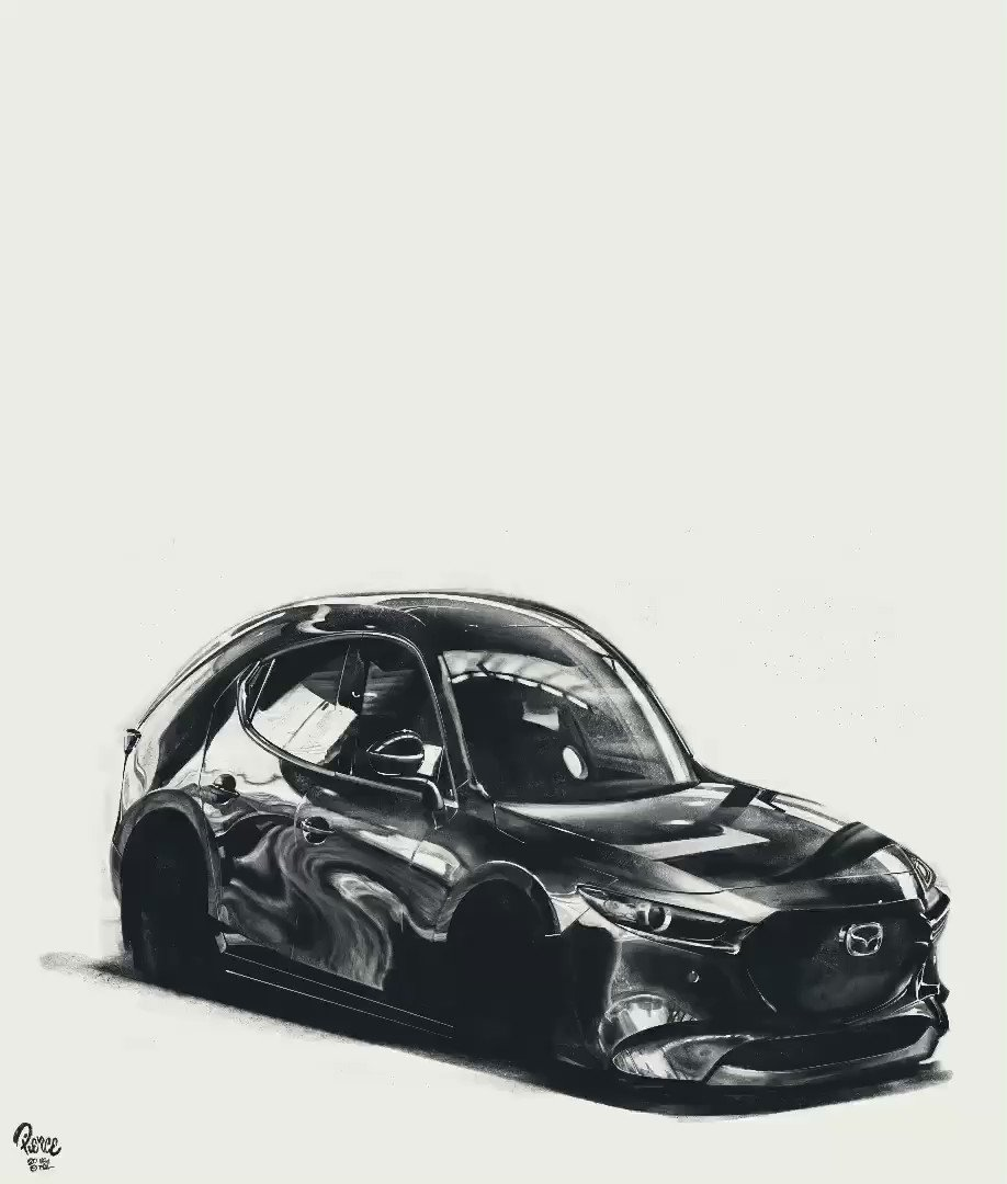 We kept staring at the @MazdaUSA Mazda3 at last year's #LAAutoShow, and it still looks incredible - even as a cartoon!