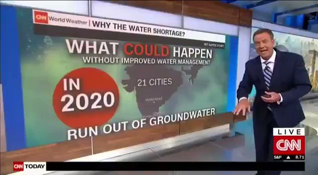 If #water management will not be done in proper manner.   - 21 cities in #India will run out of groundwater in 2020.  - 40% of population will have no access to water by 2030.   Alarming report by #CNN.