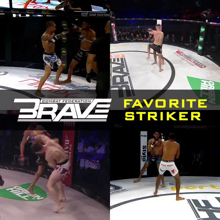 Striking! So entertaining and dangerous! For today's #TuesdayTechinnique you'll tell us which one of these BRAVE fighters has your favorite style? #BRAVECF #MMA #Striking #MuayThai #Kickboxing #Boxing