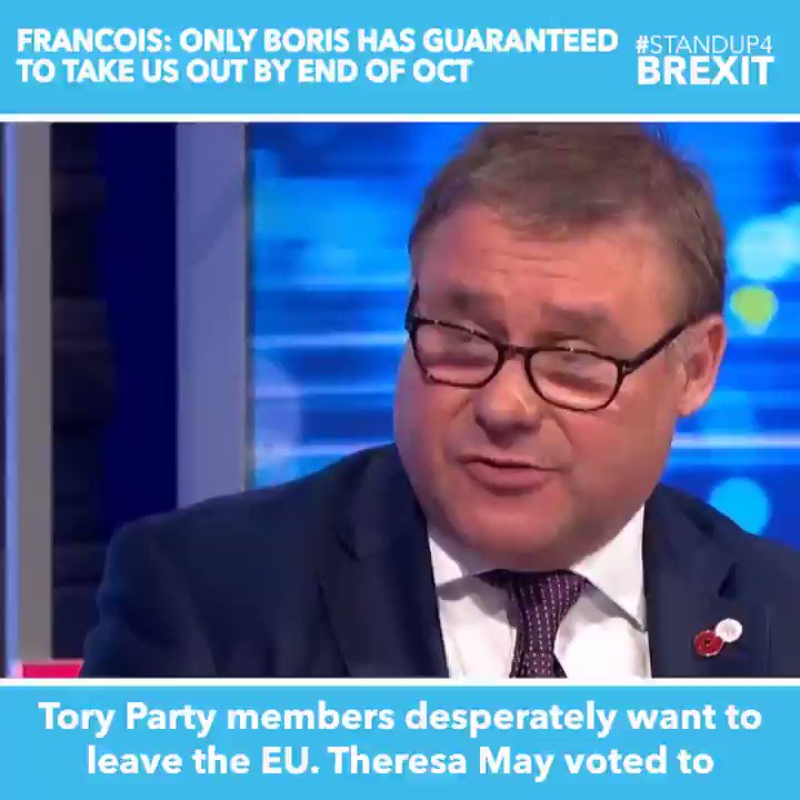 """""""Boris has been absolutely emphatic, the Withdrawal Agreement is dead. So instead we go straight to the so-called future relationship and we aim for an FTA. 83% of Tory members want to leave on Halloween, Boris is the way to guarantee that"""" Mark Francois #StandUp4Brexit #Peston"""