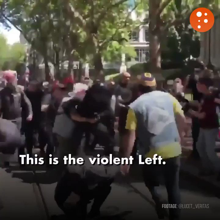 Image for the Tweet beginning: Antifa protestors brutally attacked a