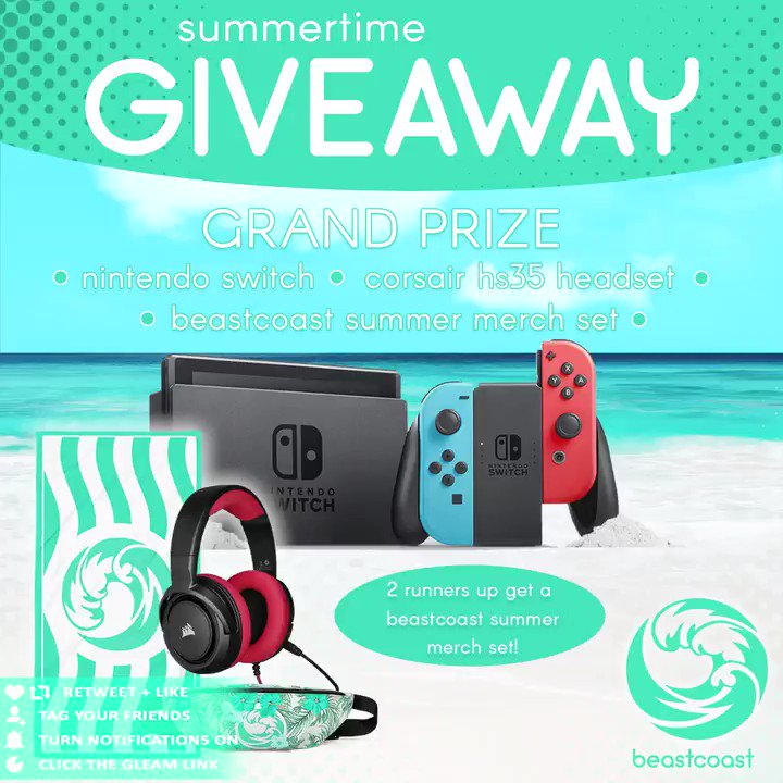 our epic summer giveaway is here! fancy winning a nintendo switch, a @CORSAIR hs35 headset and some #beachcoast swag? 😏 👋 Tag Your Friends 🔔 Turn Notifications On 💞 Retweet, Like & Follow 🖱 Click Here To Enter: vast.link/bcjuly go go go! #CORSAIR #makewaves 🌊