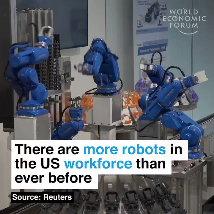 #DYK!? #MegaTrends  More #robots than ever are at work in the US.  #ai #artificialintelligence #futureofwork #automation #iiot #machinelearning #4IR #robotics #robot #smm ⚡ by @wef  🎥  TY, @marcusborba, @Paula_Piccard & @HaroldSinnott  cc: @evankirstel