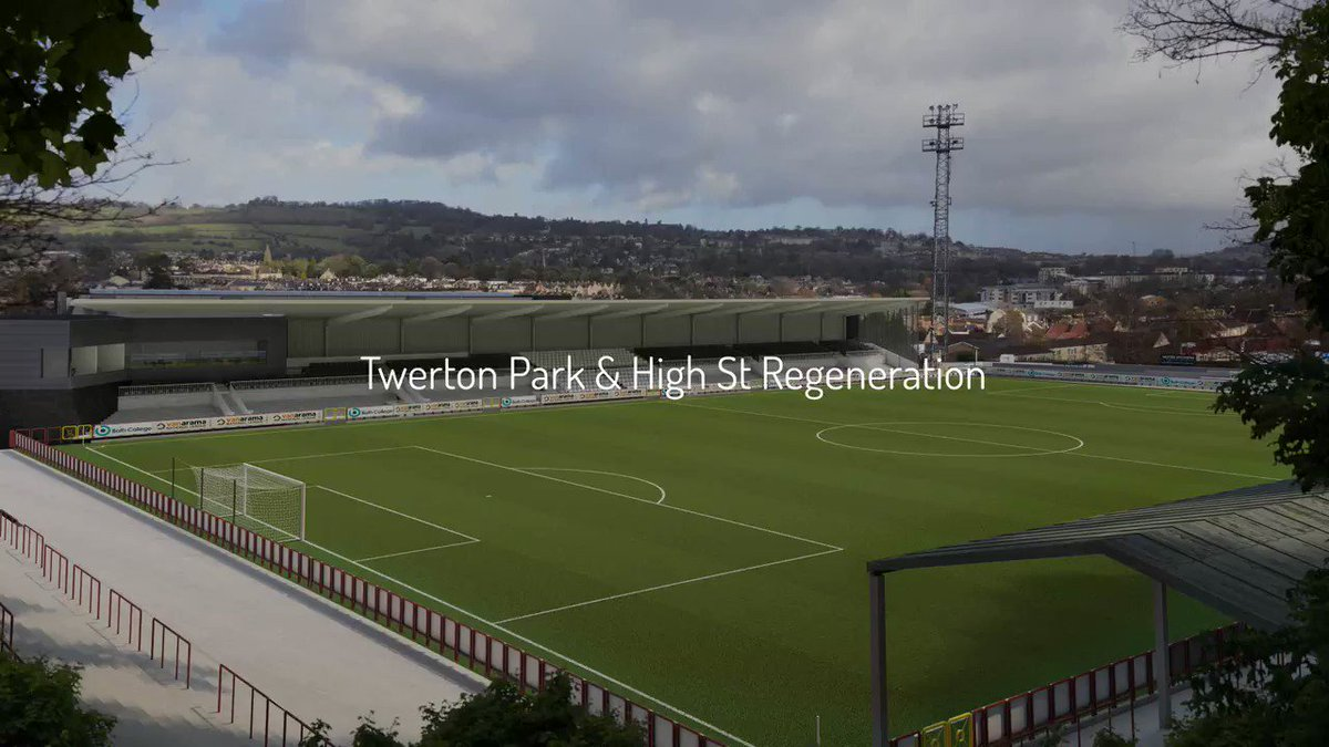 """Watch @BathCity_FC proposed redevelopment plan by @FWPGroup. Club Chair Nick Blofeld, said: """"We are entering a key chapter in the life of the club. Now we are community owned, we are determined to keep Bath City in the heart of Twerton and make it a key part of the community."""""""