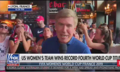 """lmao @FoxNews just went live from a bar in France after the #USWNT win and people started shouting """"Fuck Trump"""" on air😂😂"""