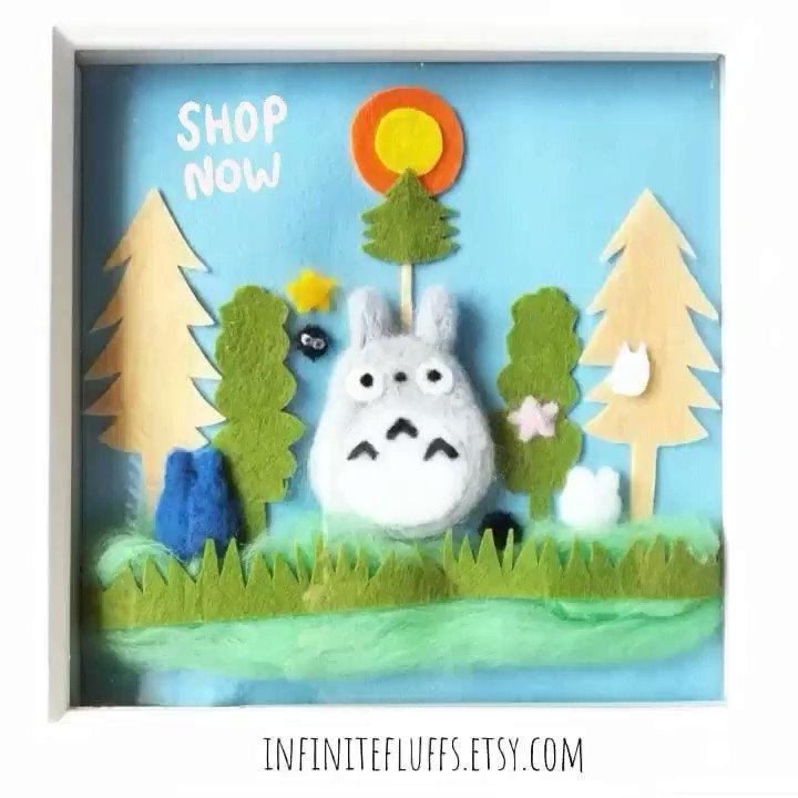 Totoro and friends felt art by me💖 Find more at http://Infinitefluffs.etsy.com  Home deco #handmade with love etsy #kawaii #cute #aww #handmadegifts #fiber #handmadeinEngland #artist  #totoro #ghibli #babyshower