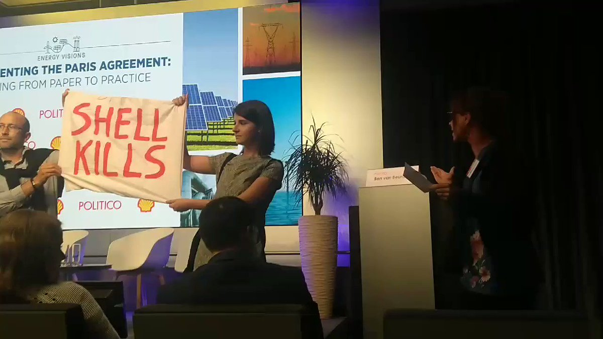 [BREAKING] Extinction Rebellion activists interrupt Shell CEO at Politico #energyvisions climate event Shell is responsible for #ClimateBreakdown #jointherebellion