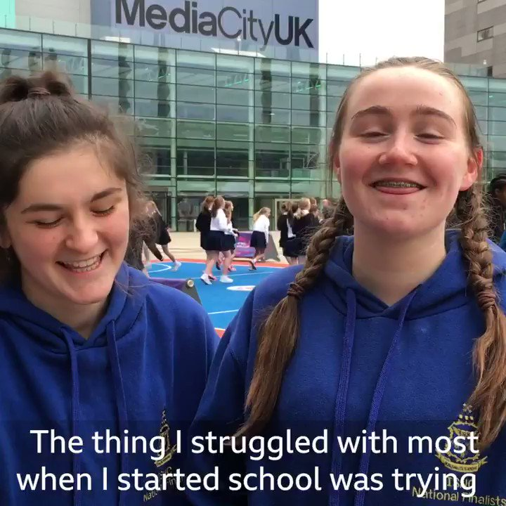 When @traceynev's laugh steals the show...😂Nervous about #StartingSecondarySchool? Join a #Netball club and make some new friends! More 👉http://bbc.in/2UUyqEE #GetInspired #bbcnetball #NWC2019 #ThisIsNetball @bbcbitesize