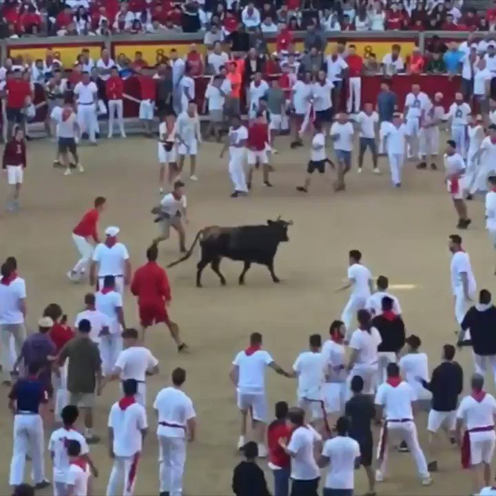 Redskins CB Josh Norman is out here JUMPING OVER bulls in Pamplona 😧