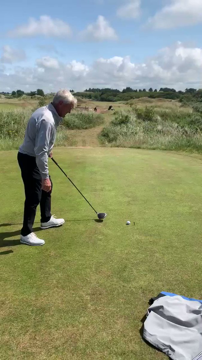 Good day at Royal Birkdale, The silver fox Thommo 72 years old showing the lads how to do it  with no warm up👊🏻#openprep @TommyFleetwood1 @DaveCorsbyPGA @mattbaldwin26