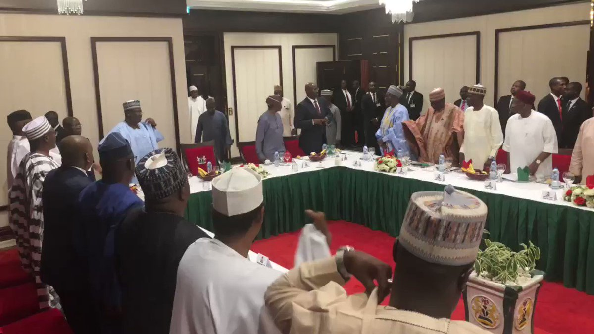 NOW: President @MBuhari hosting dinner with Principal Officers of the National Assembly, at the State House. #AsoVillaToday