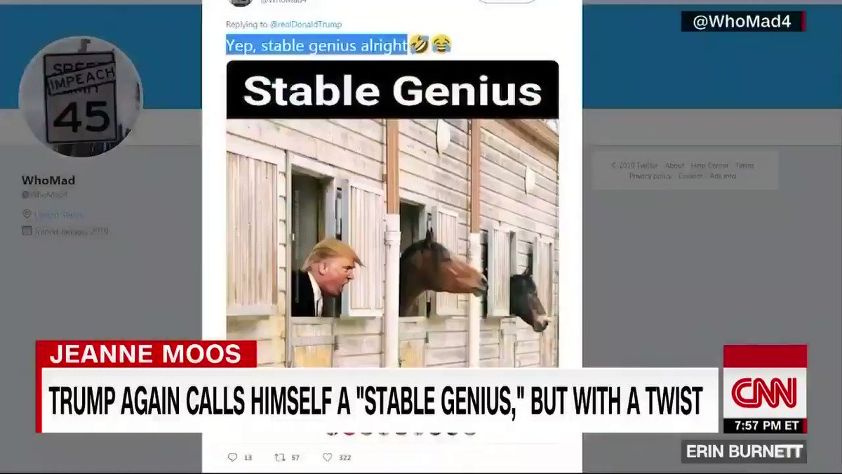 "President Trump once again referred to himself as a ""stable genius,"" and the internet was all too ready to saddle up and trot out a collection of horse puns. 🐎https://cnn.it/32pNHSX"
