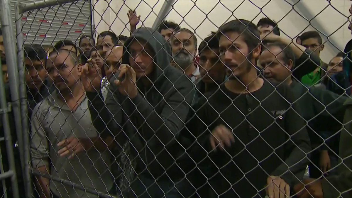 BREAKING: New video shows shows severe overcrowding of men in cages at Texas detainment facility during VP Pence's visit Friday.