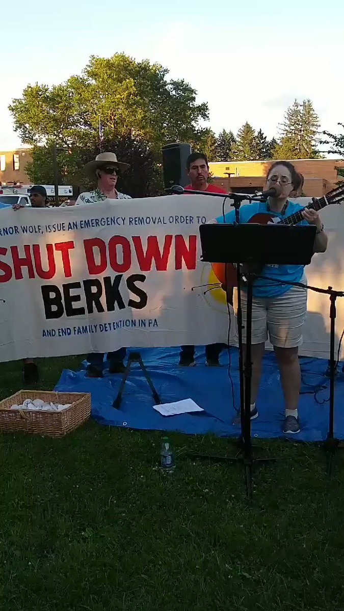 #Lights4Liberty Berks Detention Center Pennsylvania @KRod singing #ShutDownBerks