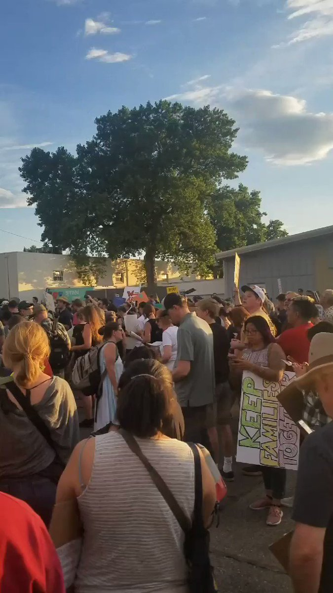 At least 500 people here to protest at the ICE detention center just outside Denver. #AbolishICE #CloseTheCamps