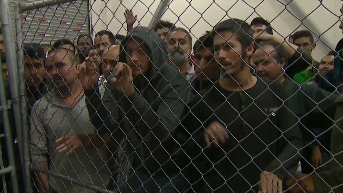 """""""384 men sleeping inside fences, on concrete w/no pillows or mats. They said they hadn't showered for weeks (many hadn't for 10-20 days), wanted toothbrushes and food. Stench was overwhelming.""""- Josh Dawsey  THIS IS NOT OK! THESE ARE HUMAN BEINGS.   OUR BROTHERS 💔  RETWEET"""