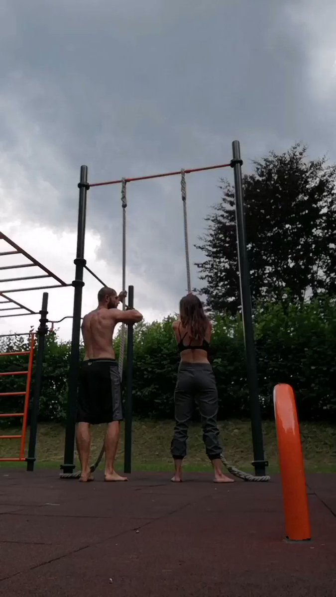 My wife and I raced up the ropes  She wouldn't let me give her an advantage so naturally, I smoked her  BUT damn she is strong  Getting to the top with just your hands is no joke  Men, find yourself a woman who encourages you to pursue your vision and helps you be a better man