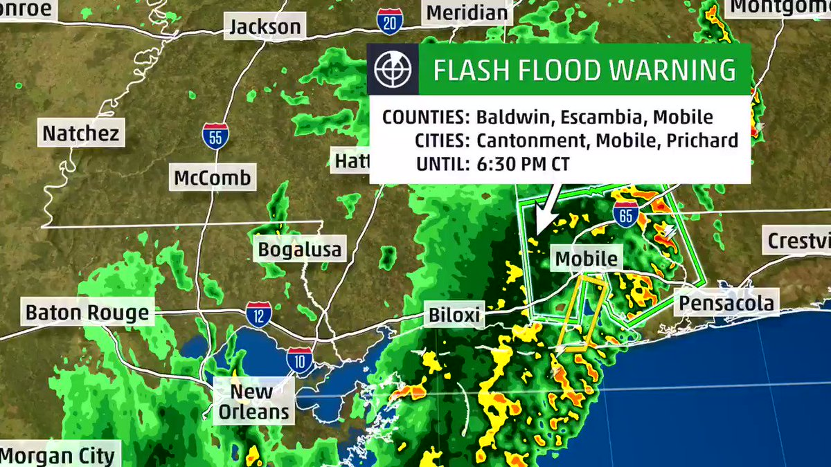 Nasty training outer band of #Barry dropping 2-3 inches per hour in Mobile area. Stay off the roads in this flash flood warning area!  And this is about 250 miles east of the center of the tropical storm. One band inward from there could cause more flooding in coastal Miss soon.