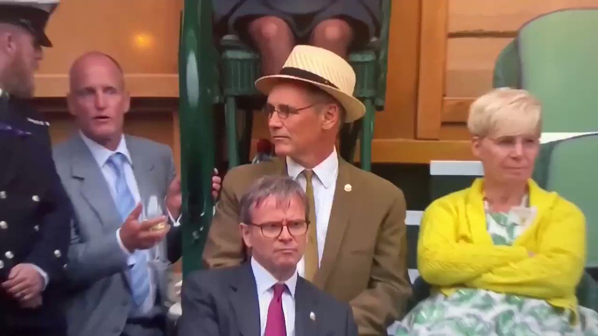 drunk woody harrelson being kept from his seats at wimbledon is a huge mood