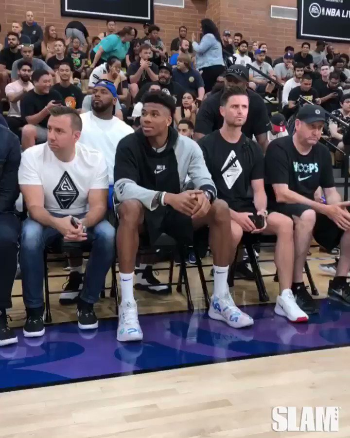 Giannis pulled up to the @DrewLeague in LA with his 'Alphabet Soup' PE's!!  📽 @DrewRuiz90